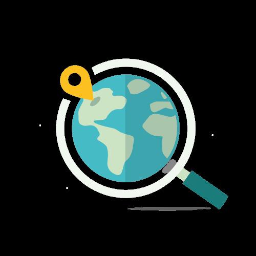 Loupe avec un globe qui montre qu'une boutique en ligne permet d'étendre sa zone de chalandise